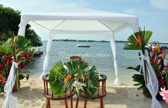 Altar de boda en la playa