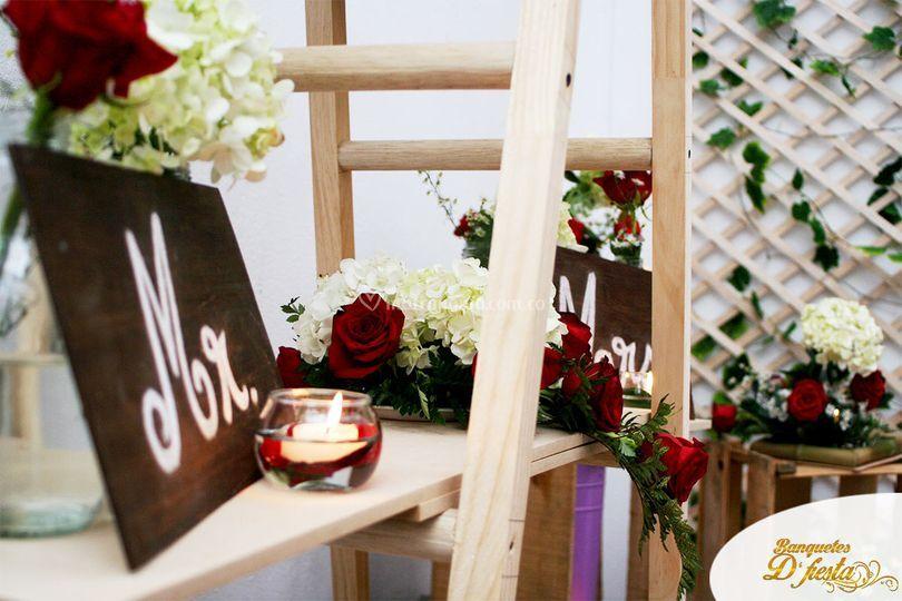 Evento romántico rosas rojas