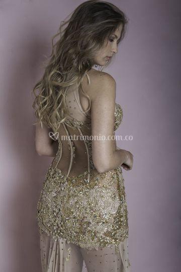 Vestido cristales dorado