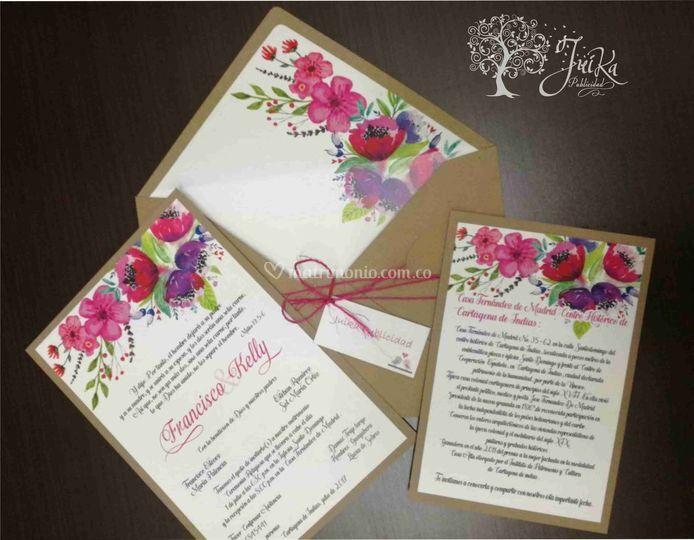 Invitacion flor acuarela