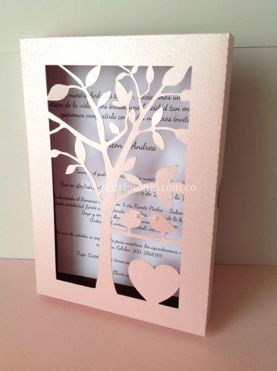 Cajita árbol rosa