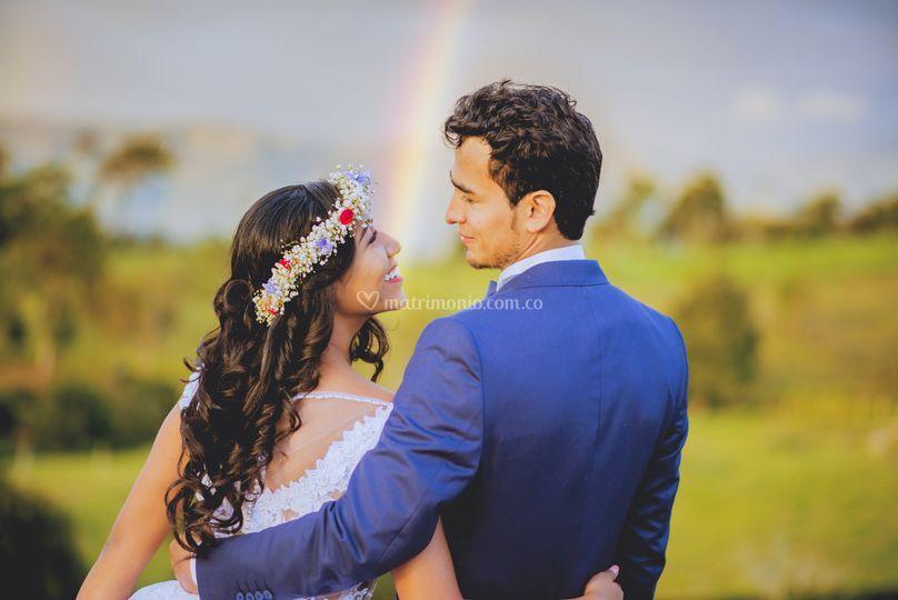 Con un arcoiris