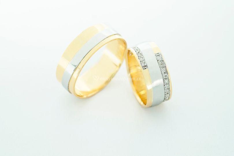 Argollas oro de 18K y diamante