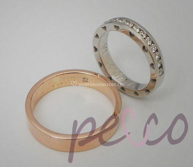 Argollas oro blanco y rosado
