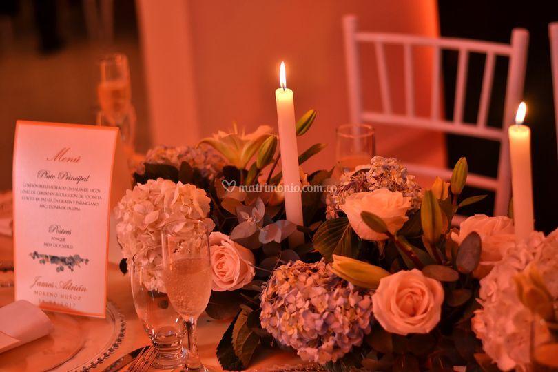 Luz cálida y romántica