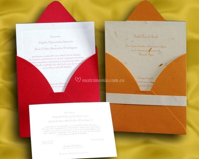 Invitaciones de matrimonio con sobres de color