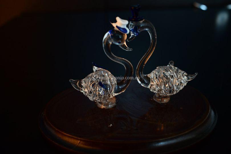 Cisnes en cristal base en made