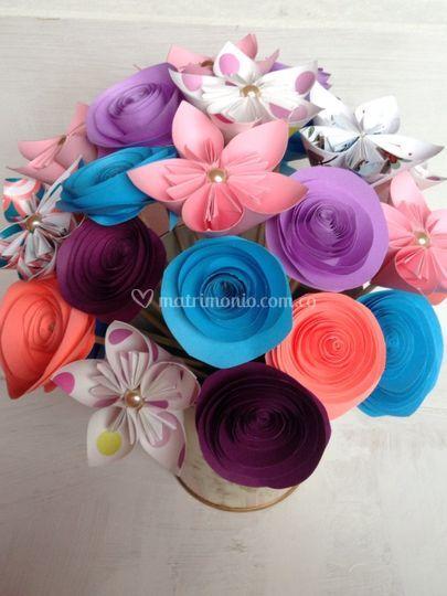Flor 5 puntas y rosas