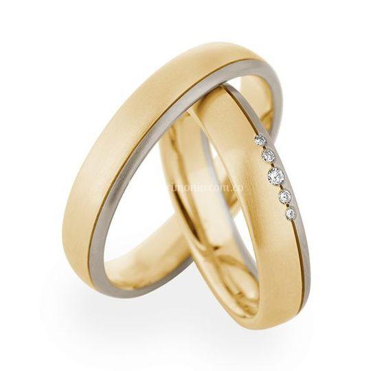 Argollas dos oros diamantes