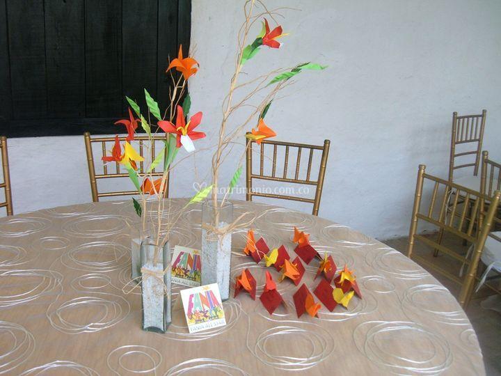 Centro de mesa en origami