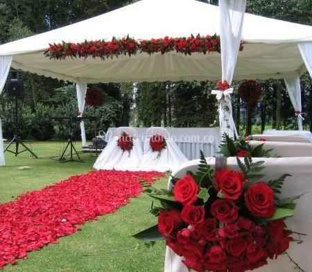 Detalle de las rosas rojas
