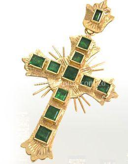 Bonito crucifijo de oro con esmeraldas