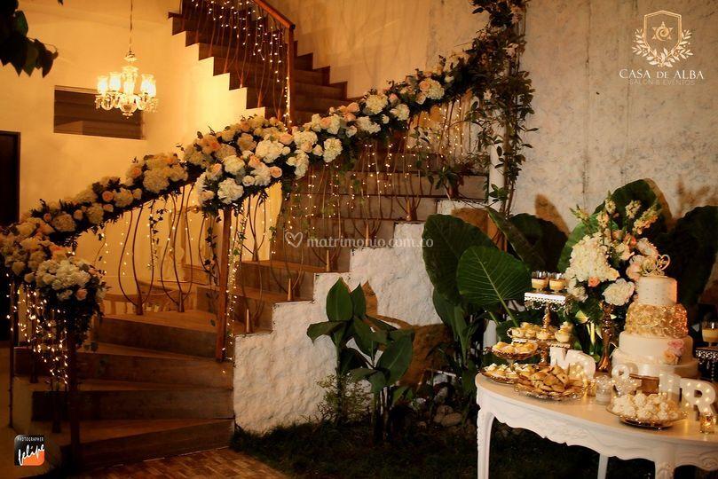 Decoración boda gold