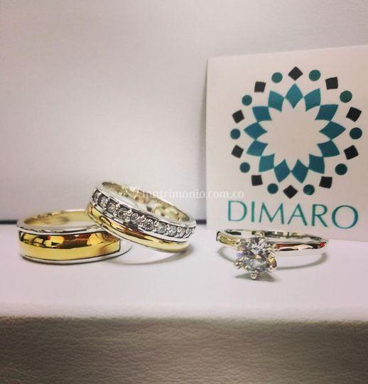 Argollas y anillo de compromiso