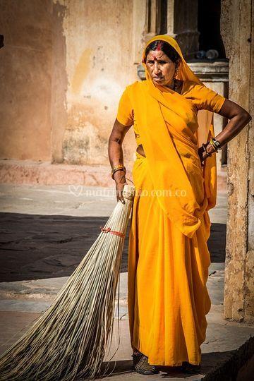 Mujer típica en la India