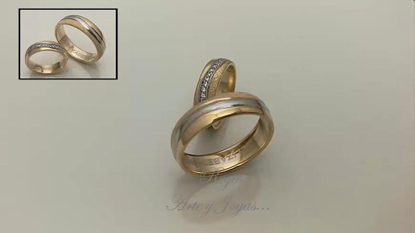 16da97dbecbf Anillos de matrimonio oro blanco y amarillo con zircones - Reyes ...