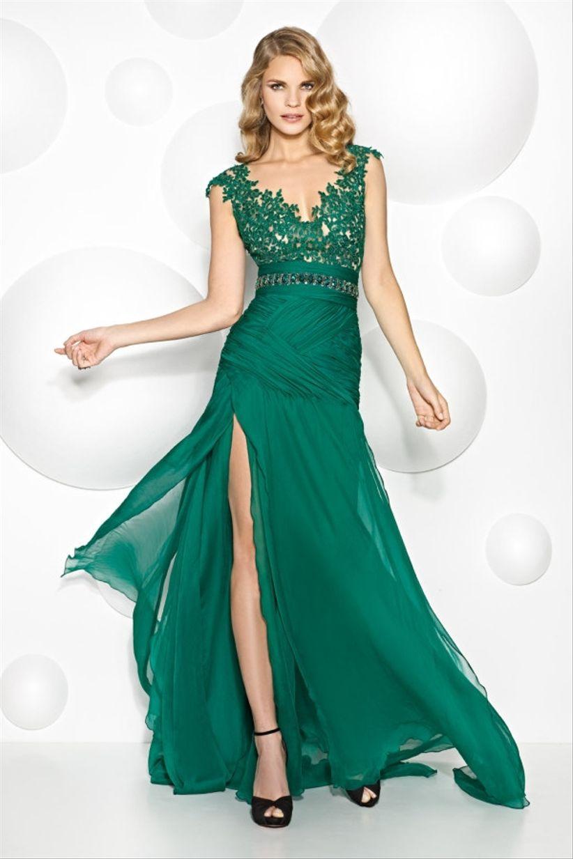 Vestido verde para boda de noche