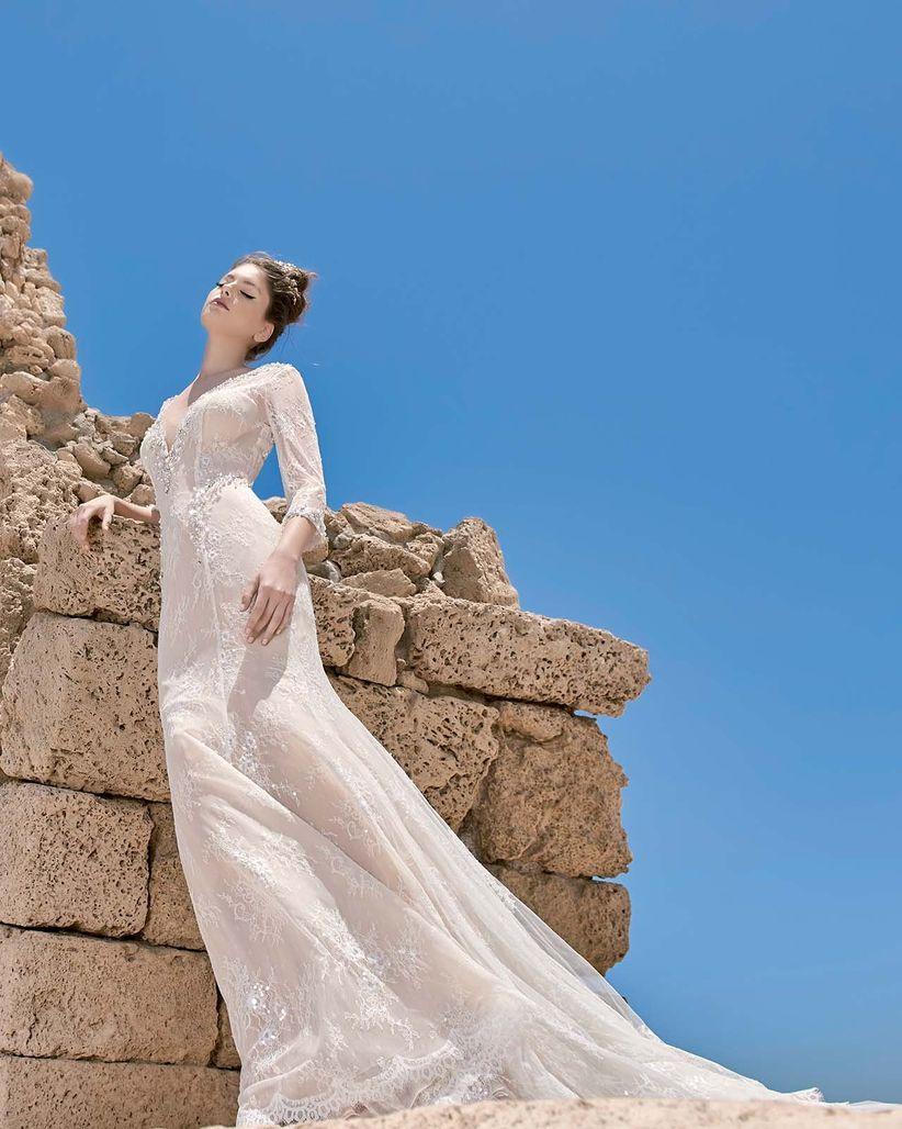 Vestidos de novia con manga tres cuartos