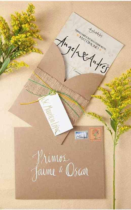 tarjeta de matrimonio ecológica