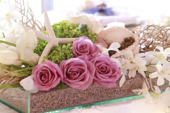 ramillete de rosas rosadas para decoración de boda