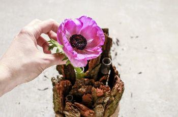 DIY: centro de mesa hecho con madera y flores