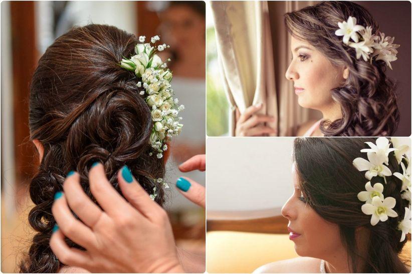 Peinados Con Flores Para Tu Look De Novia - Tocados-para-semirecogidos