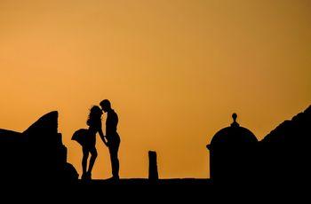 Las fotos románticas en la hora dorada