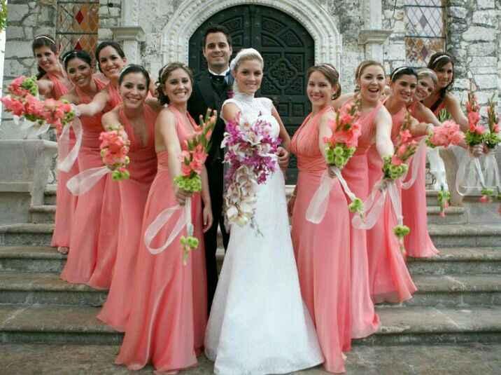 Inspiración vestidos para damas de honor en rosado - 1