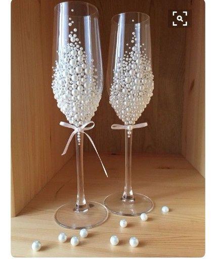Copas para el brindis de los novios - Como decorar copas para boda ...
