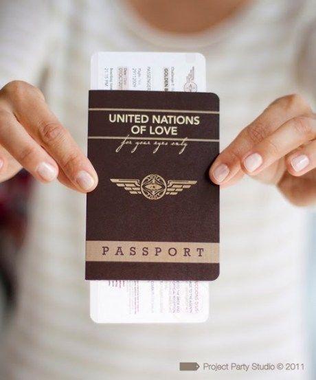Tarjetas De Invitación En Forma De Pasaporte Son Una
