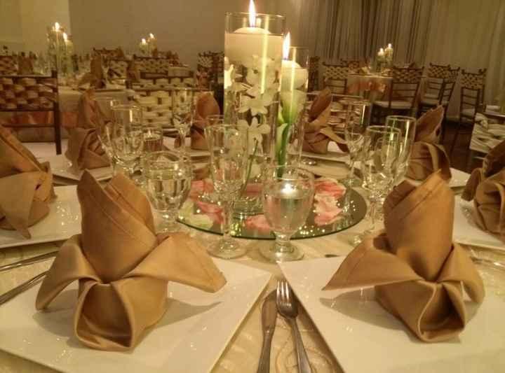 Centros de mesa con velas (como lo esperaba)