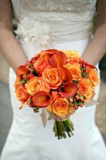 ramo de novia de color naranja