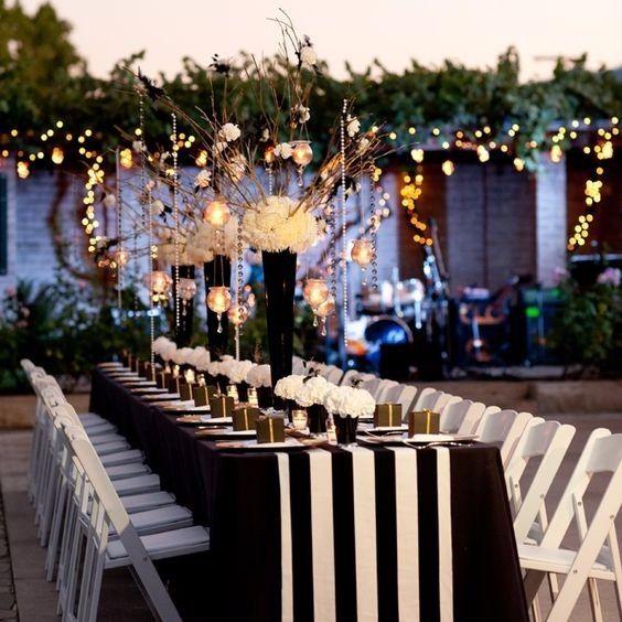 cómo decorar un matrimonio en blanco y negro