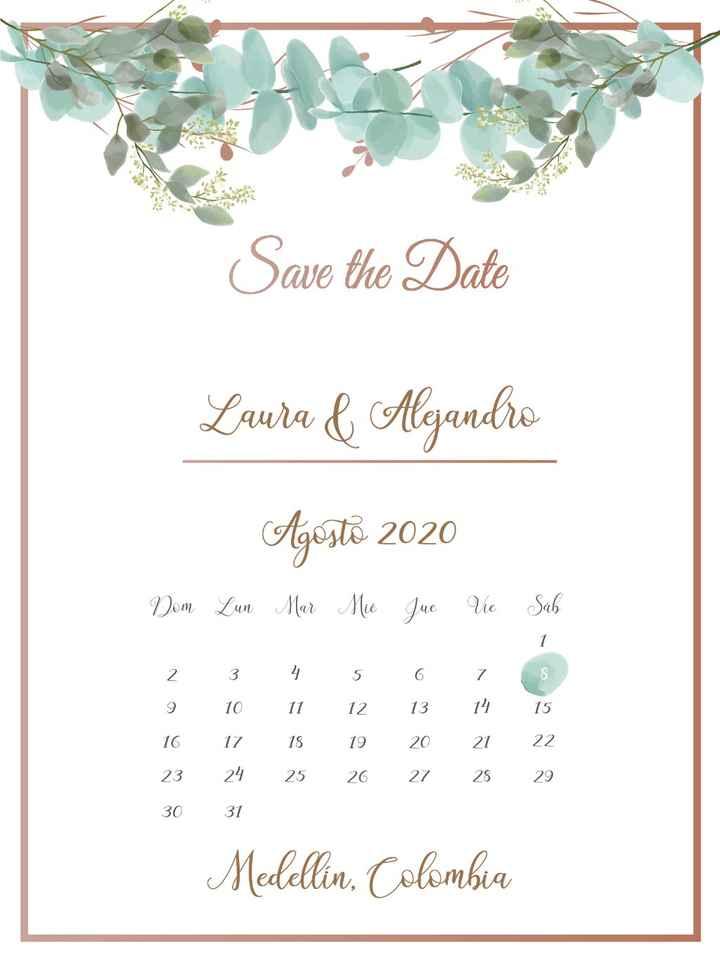 Save the Date, que ya tienen mis invitados. Hecho por mi hermanina querida!