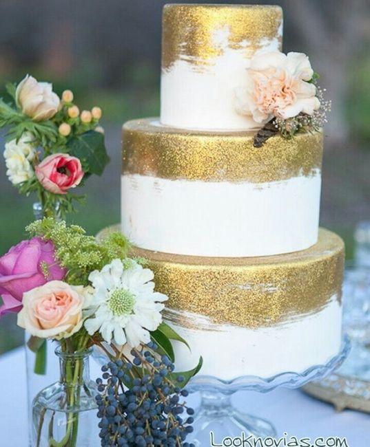 Pastel de boda en color dorado. - 8