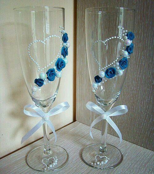 Ideas para decorar tus copas para el brindis - Como decorar copas para boda ...