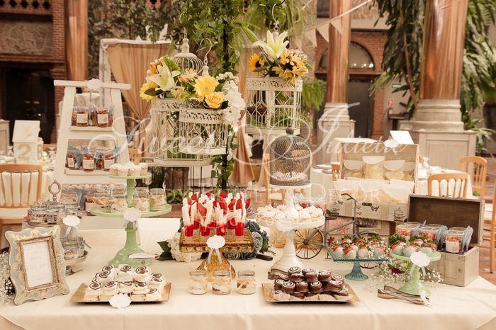 Mesas de dulces por colores for Mesa de postres baby shower