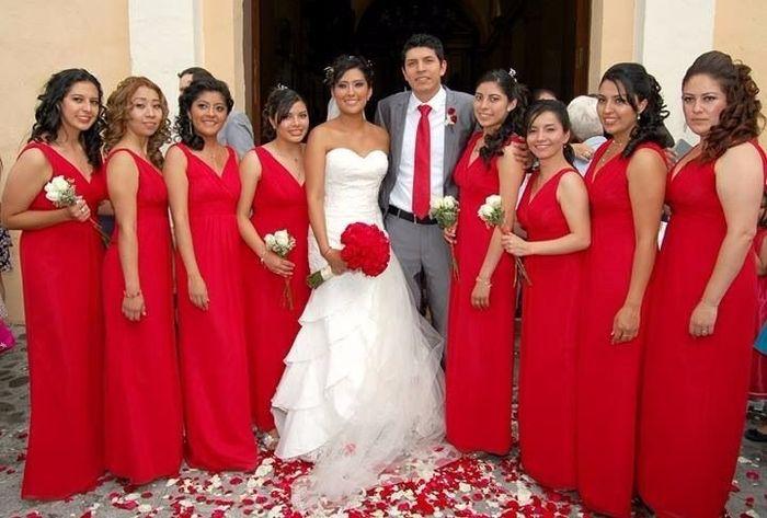 Vestido Rojo Para Damas De Honor