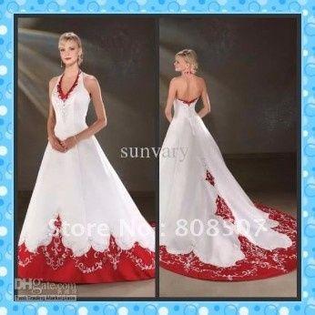 4047541b9c Vestido de novia con toques rojos