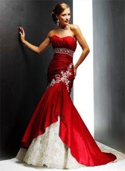 Vestidos de novia con toques rojos