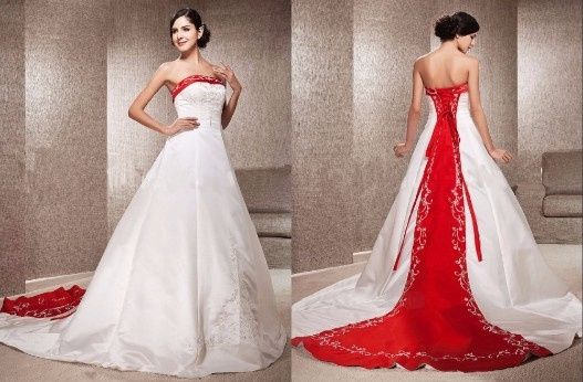 vestido de novia con toques rojos
