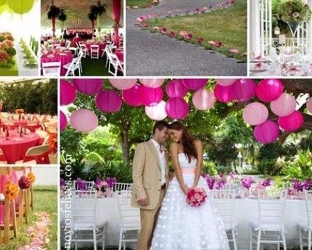 boda color fucsia: la decoracion