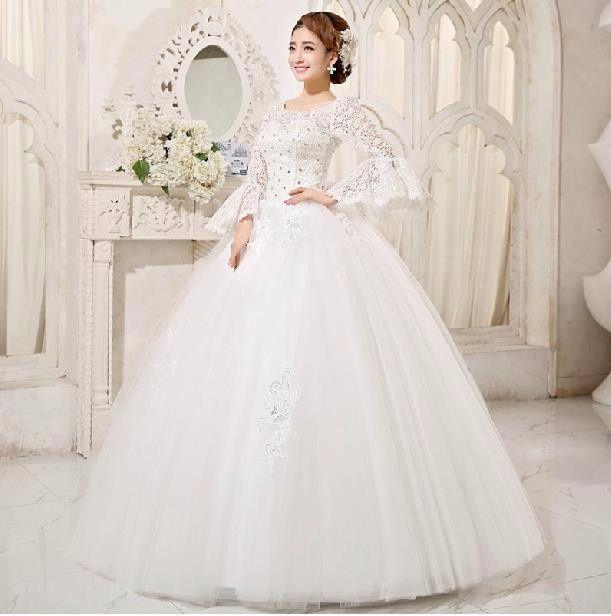 Vestido corte princesa manga larga