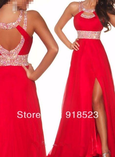 Vestido para boda rojo largo
