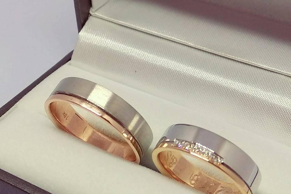 Oro rosado y blanco 18k